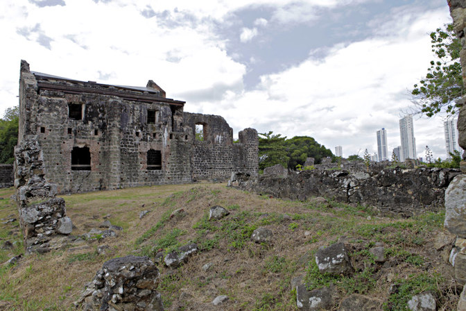 Panama Vieja, burned to the ground by the pirate Henry Morgan.